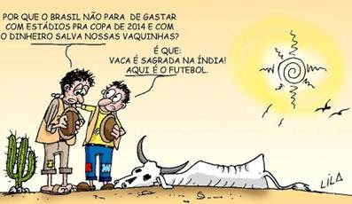 Copa 2014 vaca sagrada na Índia e futebol no Brasil