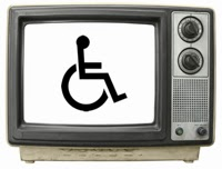 Photo of an old-style television set with wheelchair icon on the screen