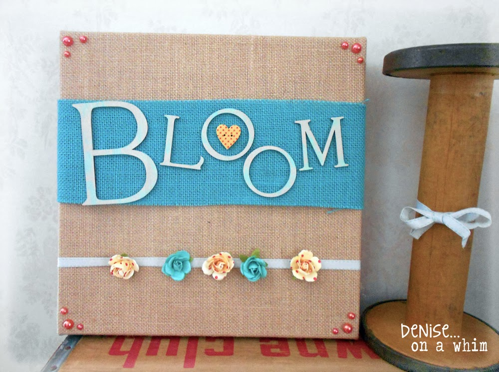 Spring Theme Stretched Burlap Canvas Project via http://deniseonawhim.blogspot.com