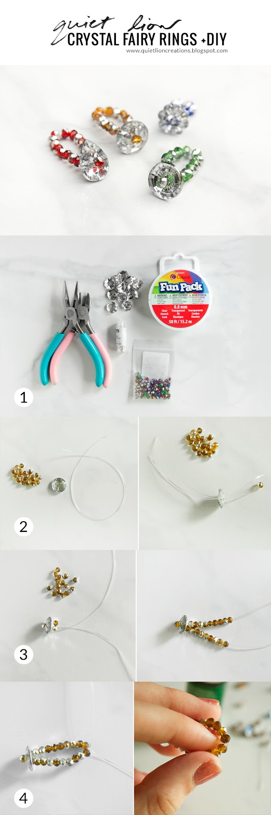 crystal fairy rings +diy - Quiet Lion Creations