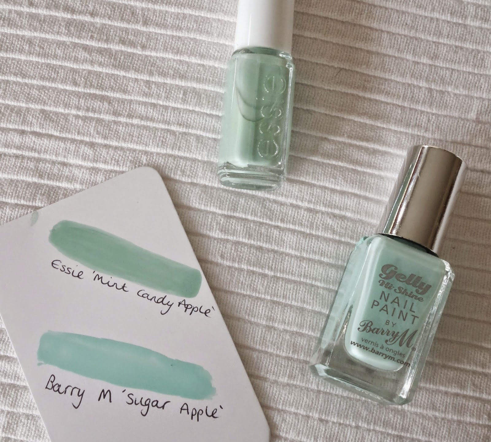 Spring and Summer Essie Dupes, Essie Mint Candy Apple, Barry M Sugar Apple