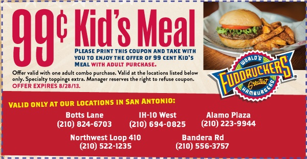 Fuddruckers Coupons Kids Meals 99 Cents Each