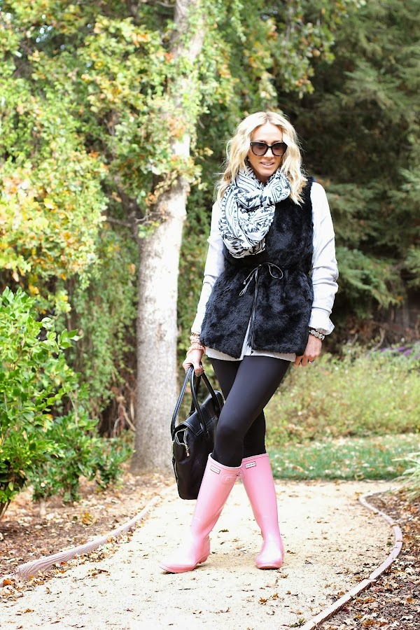 fall fur vest hunter rain boots