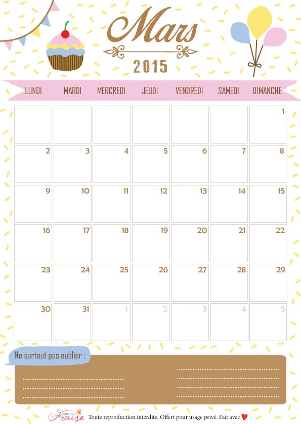 calendrier diy mars 2015 à télécharger