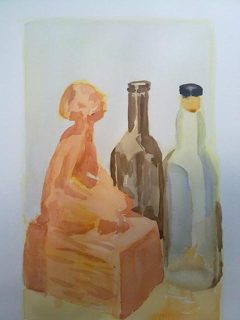 acuarela con botellas y figura
