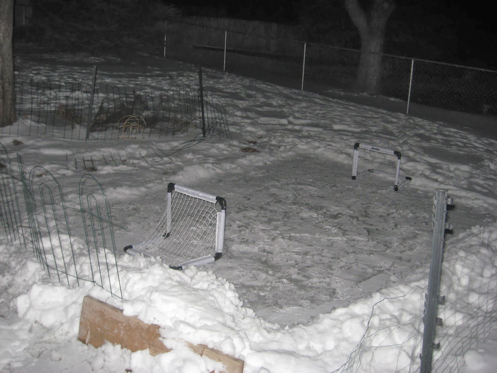 The Back Yard Slopes, And The Drift At The Low End Leaked. Most Of The Rink  Was An Ice Covered Snow Crust With All Of The Bumps And Ridges ...