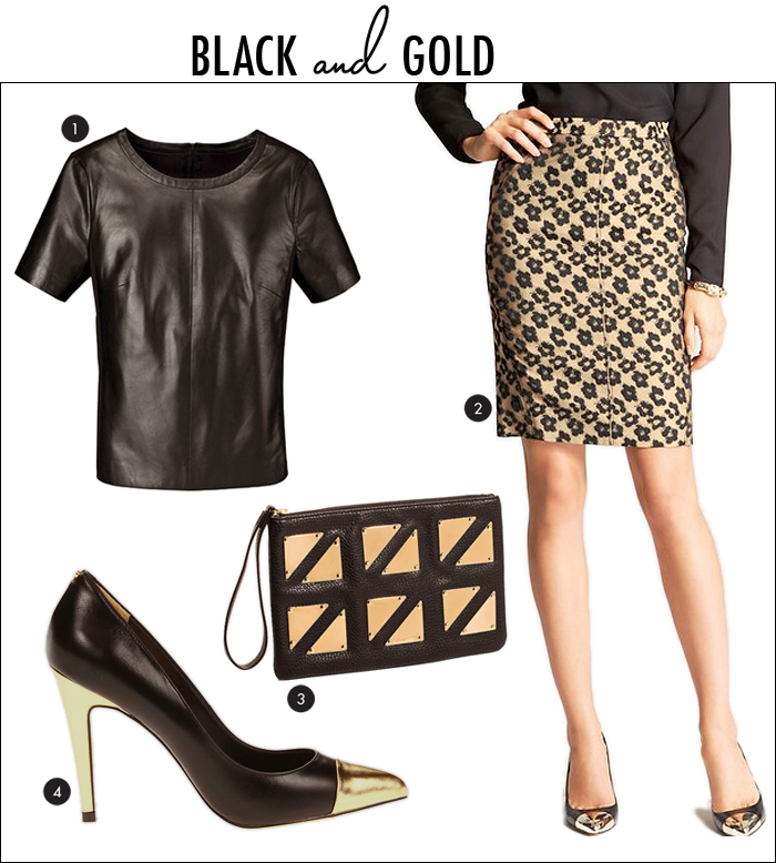 black and gold trend, cap toe pumps, leather top, wristlet, the limited, ann taylor, kate hudson, zappos, nordstrom
