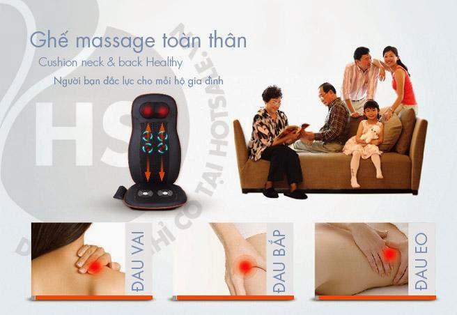 Đệm massage hồng ngoại, ghế mát xa tự động Nhật Bản, đệm mát xa giảm đau vai gáy