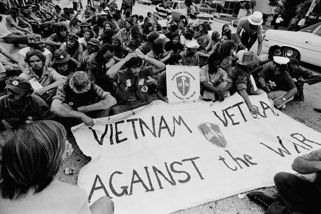Members of the Vietnam Veterans Against the War (VVAW) hold a peaceful demonstration outside the 1972 Democratic National Convention in Miami. Photo by JP Laffont / Sygma / Corbis.