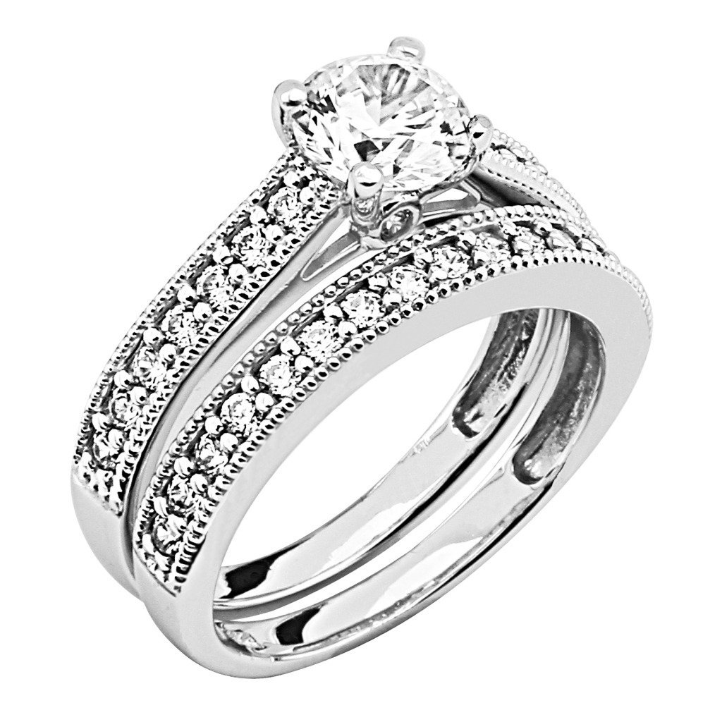 cubic zirconia ladies wedding engagement ring wedding band 2 two
