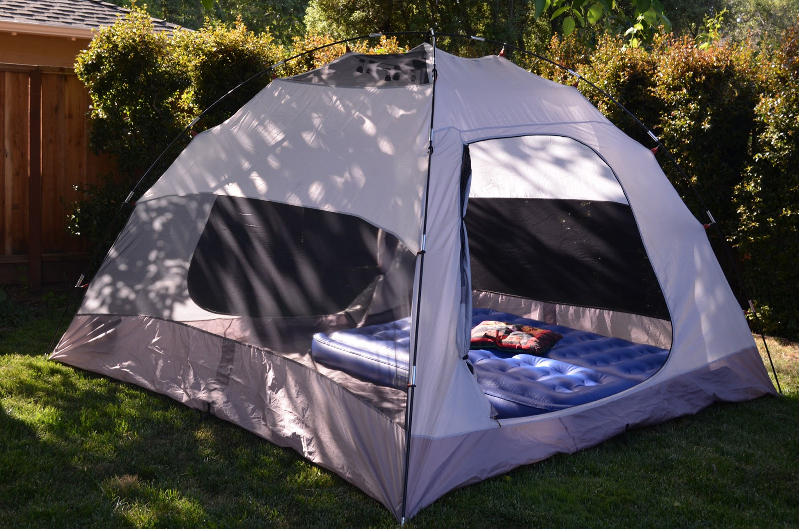 Tent Camping In Backyard : We set up our tent in the backyard and put our air mattress in it It