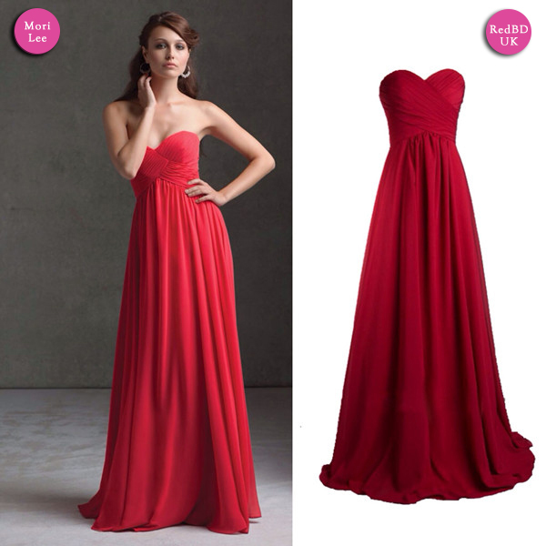 Sweetheart Strapless Long Red Bridesmaid Dress