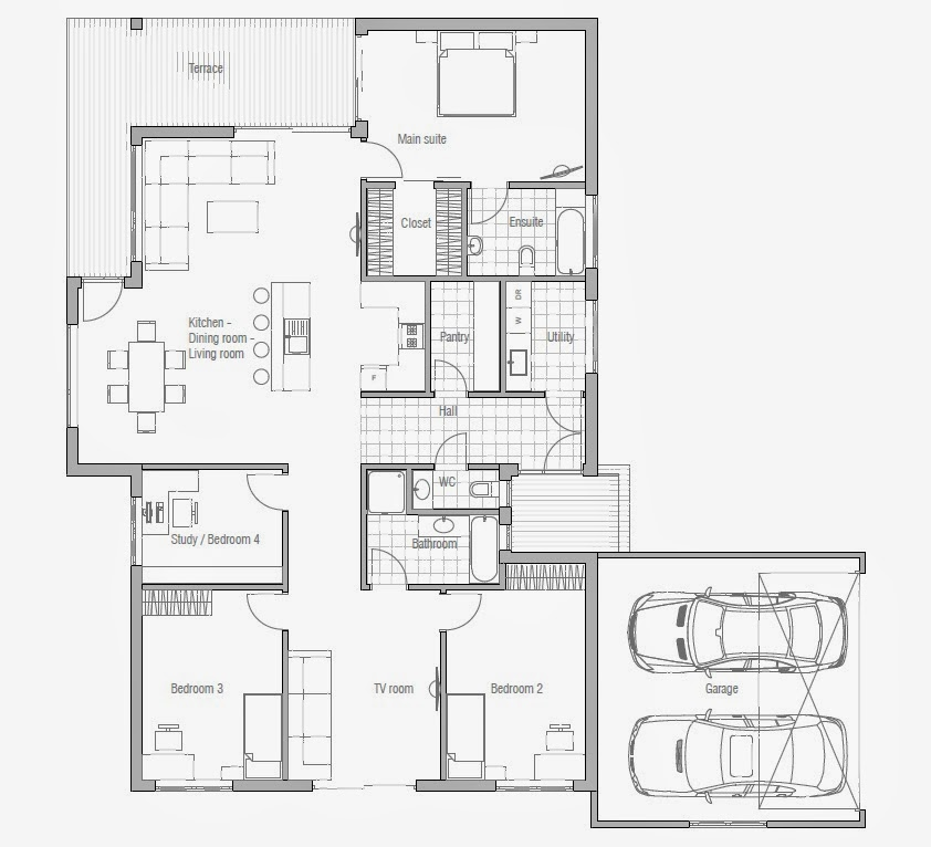 Affordable home plans affordable home plan ch70 for Cheap house floor plans