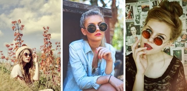 Fashion, tendencias, gafas de sol redondas.