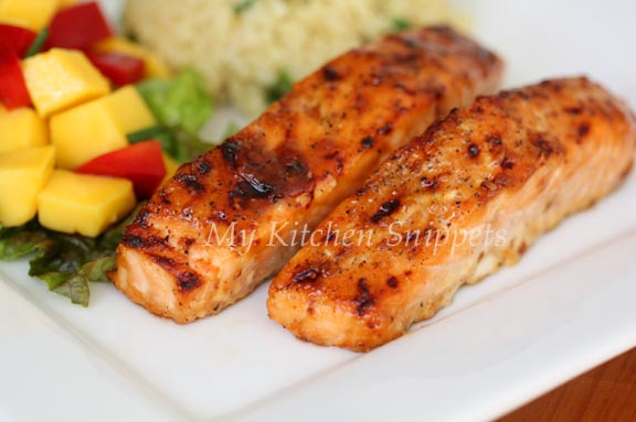 My Kitchen Snippets: Ginger Miso Glazed Salmon with Mango Salsa