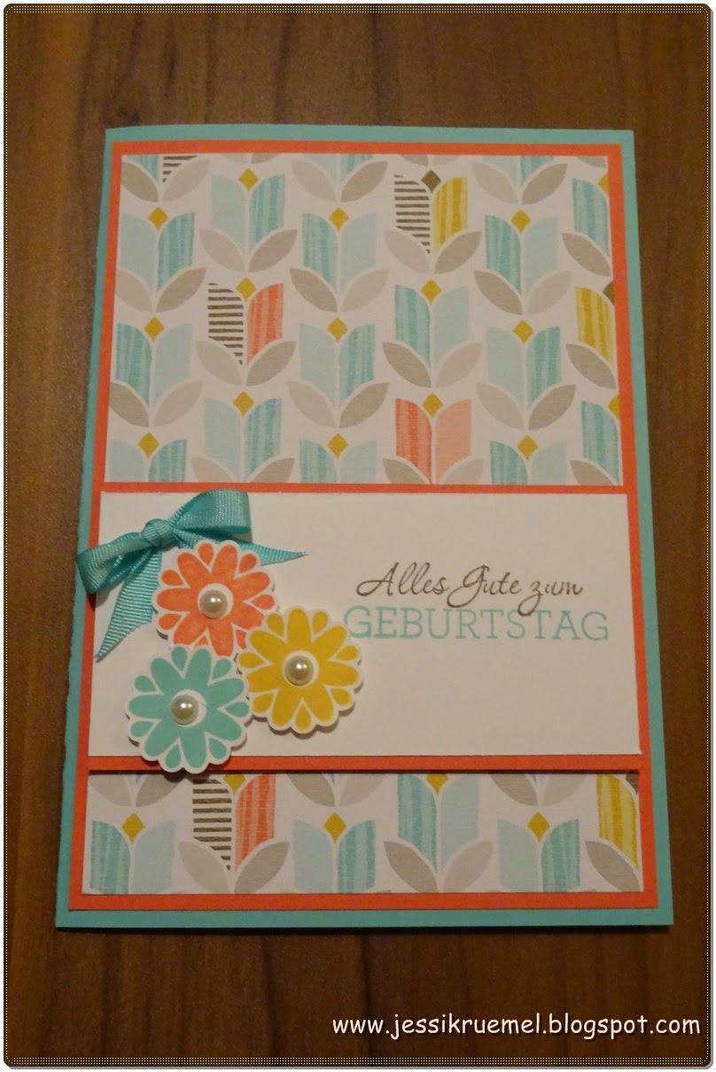 Stampin' Up!, Frühlingsmini, SAB 2015, Die schönste Zeit, Calypso, Currygelb, Jade, Muttertag, Geburtstag, Designpapier, www.stempelfreundin.de