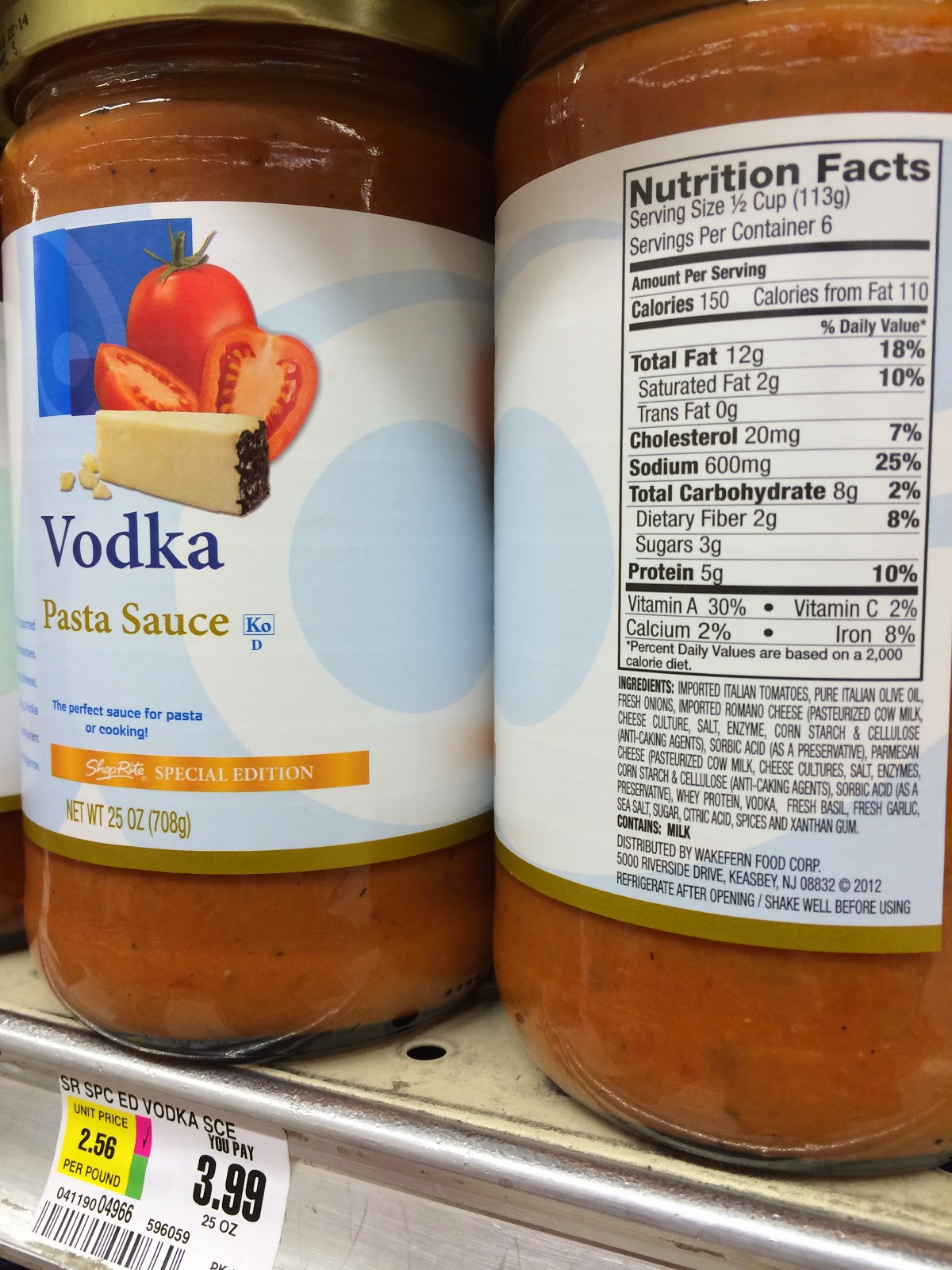 Shoprite can can sale 2015 - Late Last Month I Bought A 40 Ounce Jar Of Victoria Vodka Sauce Which Contains No Heavy Cream On Sale For 3 99 At The Shoprite In Paramus Below