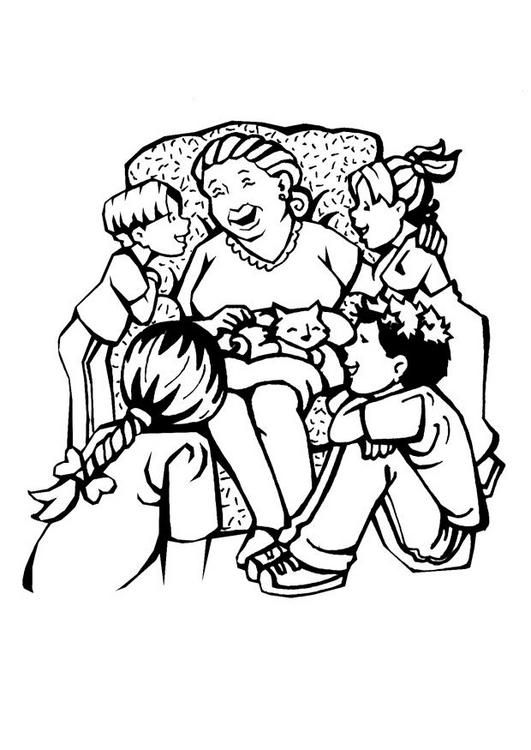 Manualidades para niños: Dibujo de la familia para colorear