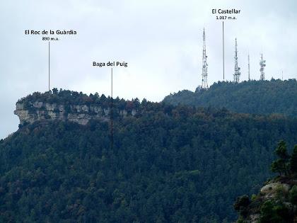 El Roc de la Guàrdia i el Puig del Castellar des del mas Vilageliu