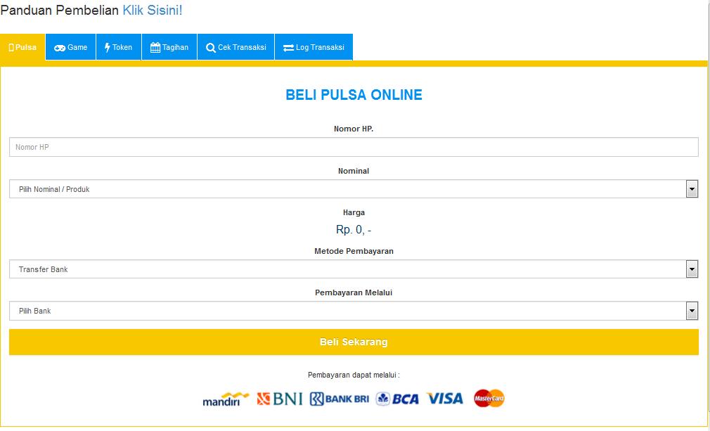 Jual Pulsa Murah, Voucher Game, Token PLN, Tiket Pesawat