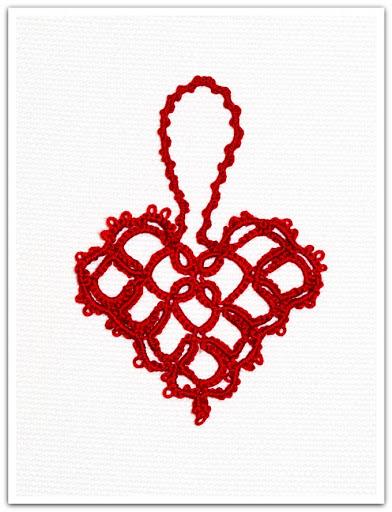 Julpynt i frivoliteter, hjärta