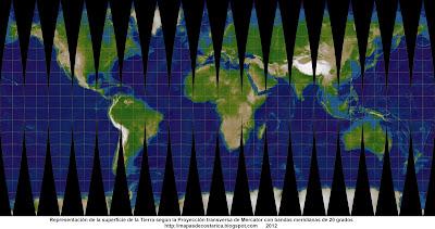 3. Representacion de la superficie de la Tierra segun la Proyección transversa de Mercator con bandas meridianas de 20 grados, mapa grande 4117 x 2048 px