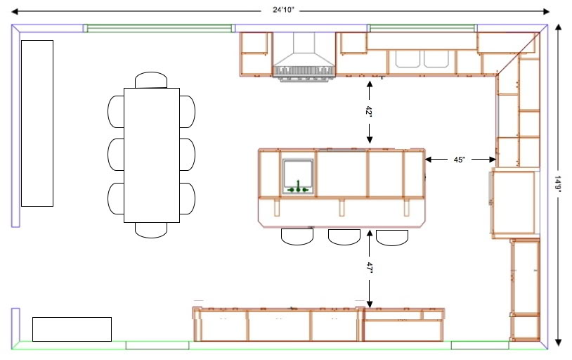Small Kitchen With Island Floor Plan how to choose a kitchen layout based on the fridge oven sink work