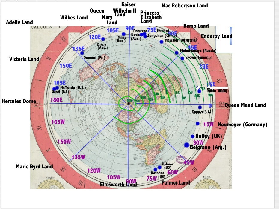 Rick potvins virtual circumnavigation of antarctica to decide if rick potvins update of the gleason 1895 full azimuthal projection map for flat earthers gumiabroncs Image collections