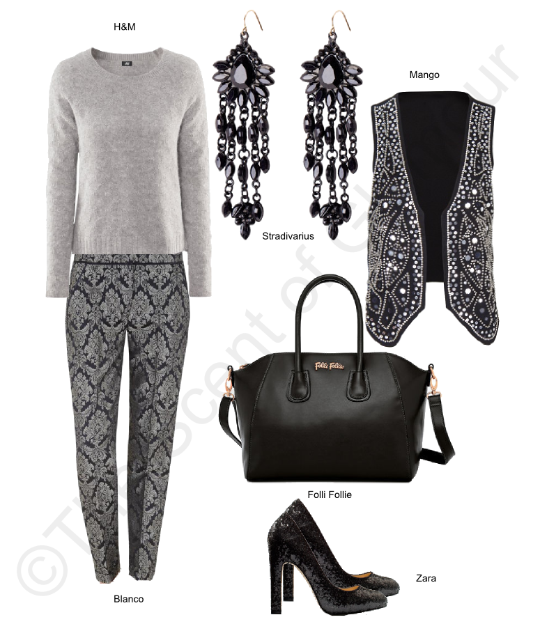 h&m grey sweater, blanco trousers, follie follie black handbag, stradivarius earrings, mango vest, zara black heels