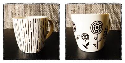 DIY Tassen bemalen Muster schwarz weiß