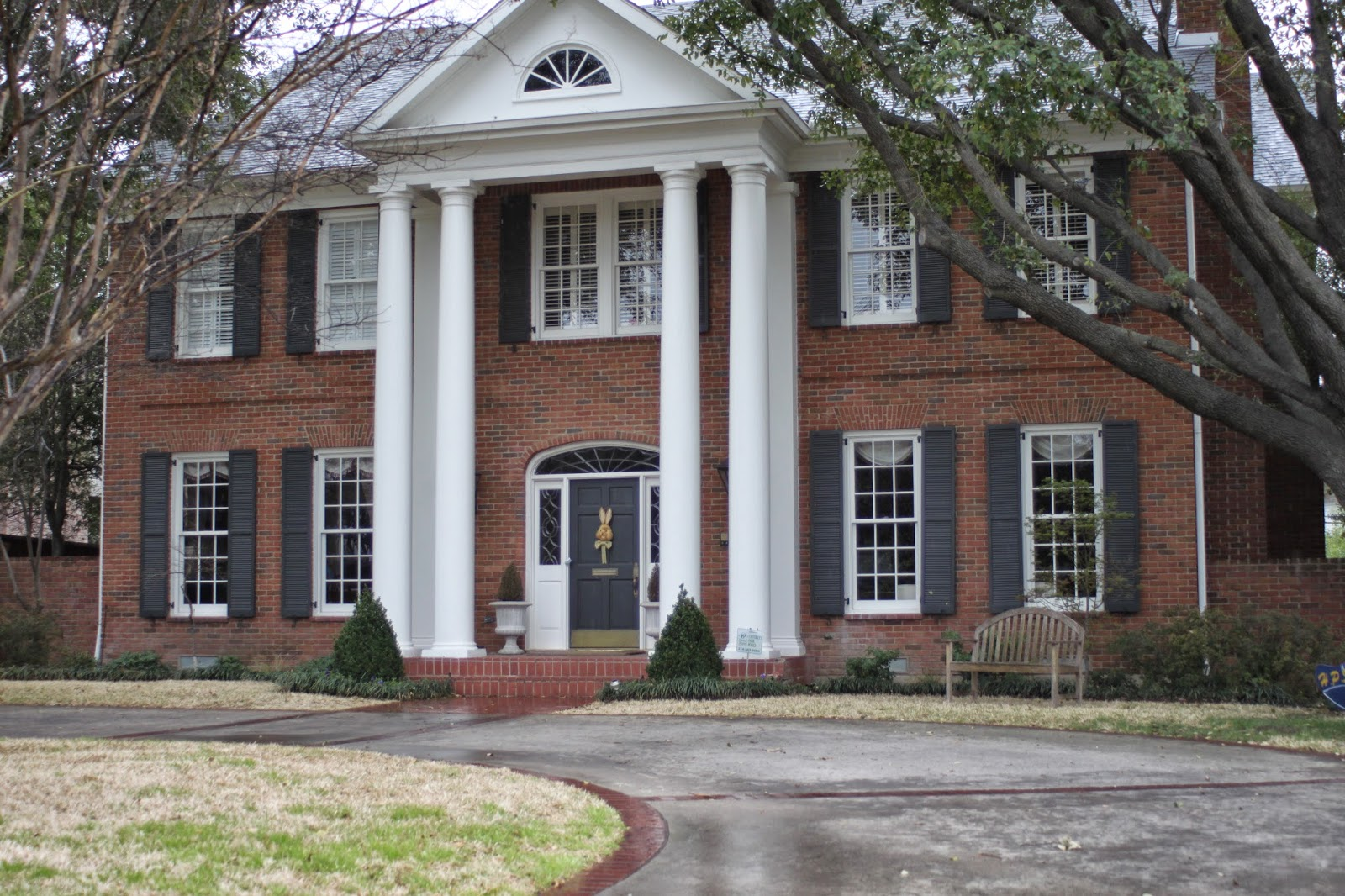 Homes with columns home design - Red brick house black shutters ...