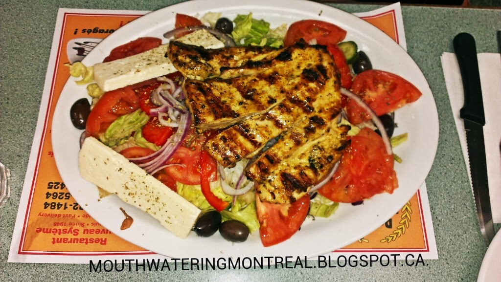 New System BBQ - Greek salad with grilled chicken