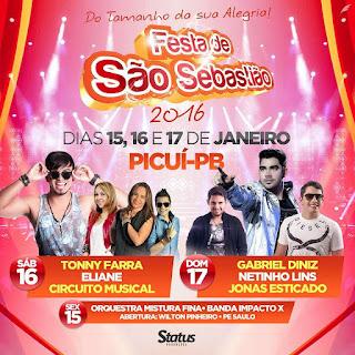 Confira as atrações da Festa de São Sebastião em Picuí