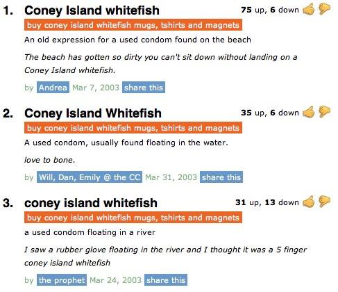 Coney Island Whitefish Urban Dictonary