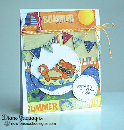 Cool Cat card by Diane Jaquay using Newton's Summer Vacation Cat Stamp set by Newton's Nook Designs