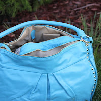 blue handbag