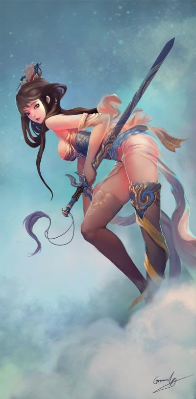 Shengyuan Lee grandialee illustrations fantasy anime Chinese female warrior