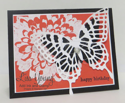 Stampin' Up! Definitely Dahlia background stamp with white and black butterfly. Embossed birthday card in Watermelon Wonder, white and black. Handmade card by Lisa Young, Add Ink and Stamp.