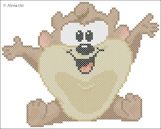 Free cross-stitch patterns, Baby Taz, Tasmanian Devil, animal, Looney Tunes, cartoon, cross-stitch, back stitch, cross-stitch scheme, free pattern, x-stitchmagic.blogspot.it, вышивка крестиком, бесплатная схема, punto croce, schemi punto croce gratis, DMC, blocks, symbols