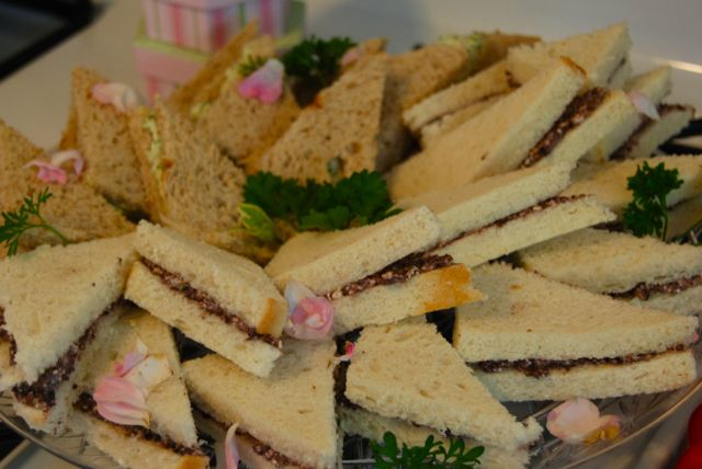 Tea sandwiches: Kalamata olives with feta and herbed chicken salad