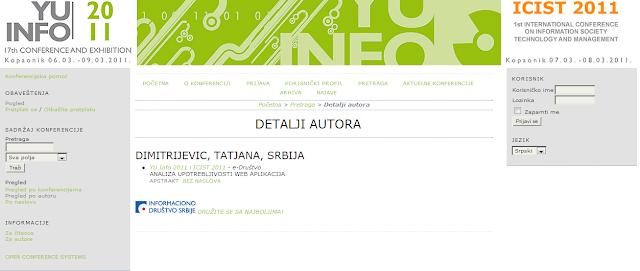 YU Info 2011 i ICIST 2011