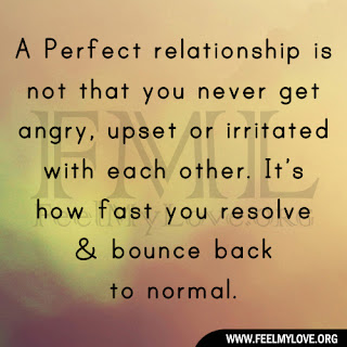 A Perfect relationship is not that you never get angry