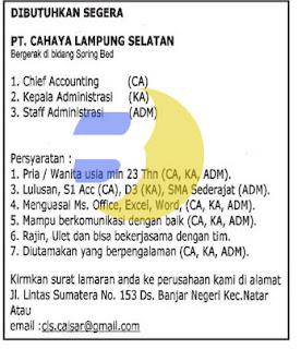Lowongan Kerja PT. Cahaya Lampung Selatan