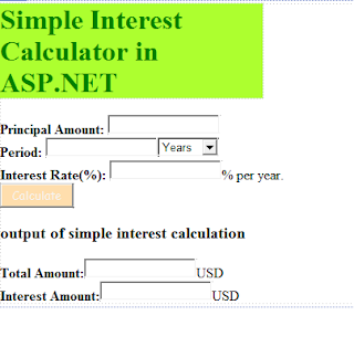Simple Interest Calculator in ASP.NET C#