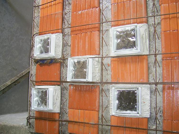 bloco de vidro na laje