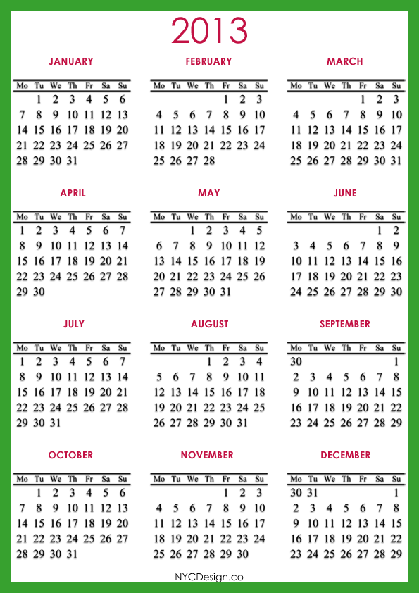 ... New York, NY: 2013 Calendar - Printable - Green - Red - A4 Paper Size