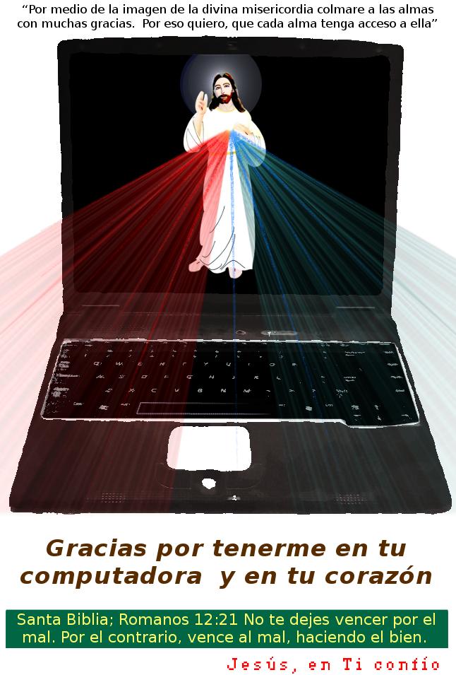 edicion de una imagen en la computadora con jesus misericordioso