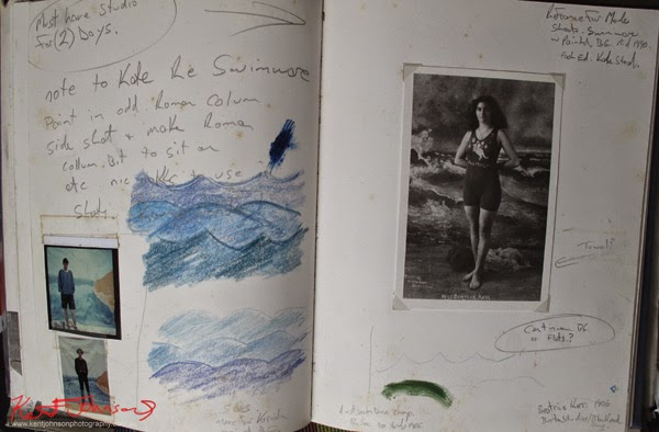 Notebook with polaroids and drawings for studio swimwear shoot including inspiration postcard of Australian champion swimmer Miss Beatrice Kerr.