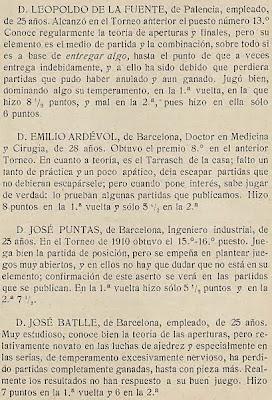 Notas sobre los participantes en el Torneo de Ajedrez para el Campeonato de Barcelona de 1913 (3)