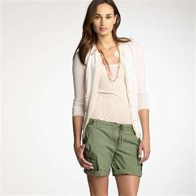 Green Women Shorts